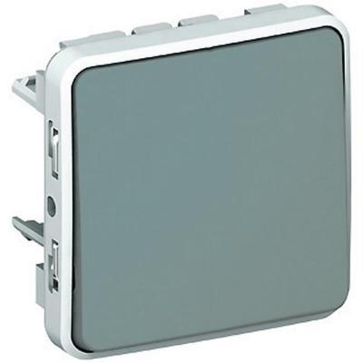 Poussoir étanche NO Plexo composable IP55 10A - gris