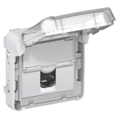 Prise RJ45 étanche catégorie6 FTP Plexo composable IP55 gris