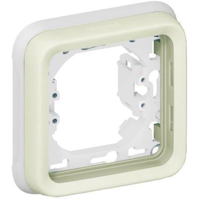 Support plaque étanche 1 poste Plexo composable IP55 - blanc