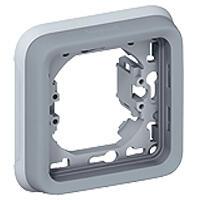 Support plaque étanche 1 poste Plexo composable IP55 - gris